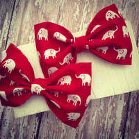 Fabric hair bow red with white elephants rockabilly retro pinup style bow tie