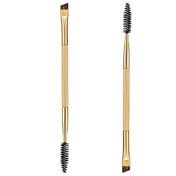Double Eyebrow Bamboo Handle Brush + Eyebrow Comb Makeup Brushes