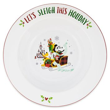 Disney Parks Santa Mickey and Friends Nordic Winter Holiday Serving Bowl New