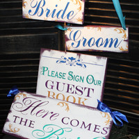 Wedding Signs Set/Here Comes the BRIDE Sign Set/Peacock/Wedding Signs/Photo Prop/Plum,Teal,Gold,Royal Blue