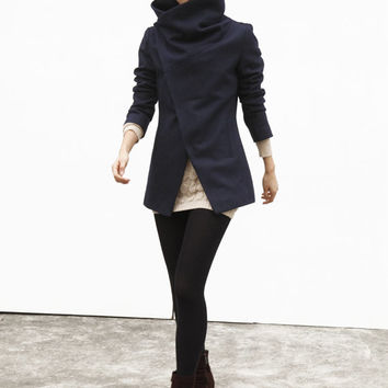 Navy Blue High Collar Jacket Winter Wool Women Coat - Custom Made - NC493