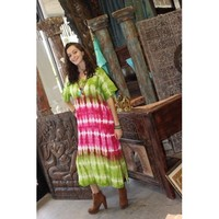 Mogul Womens Tie Dye Summer Dress Floral Embroidered Button Front Beach Cover Up Short Sleeves Long Dresses - Walmart.com