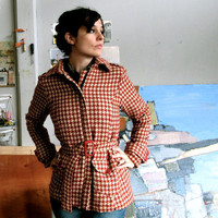 Red & White Houndstooth Autumn Jacket by GinnyandHarriot on Etsy