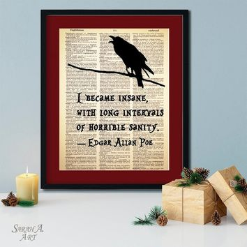 I Became Insane, Edgar Allan Poe Quote, Dictionary Art Print, Vintage Antique Book Page, Dictionary Paper, Dark Decor, Unique Gift, Bird Art