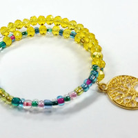 Yellow, Multicolor,Beaded Bracelet, Alex and Ani Inspired, Faceted Beads, Beaded Coil Bracelet, Memory Wire, Handmade,Custom, Beaded Jewelry