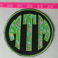 Lilly Pulitzer Fabric Monogram Applique Patch - Iron on or Sew - 3 Sizes