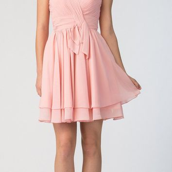 Strapless Ruched Bodice Short Homecoming Dress Blush