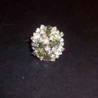 Vintage Rhinestone Cocktail Ring Costume Jewelry size 8 adjustable Clear Pink Yellow Smokey Quartz 50s 60s Pin Up Sophisticated
