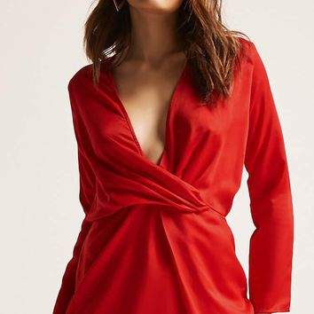 Motel Satin Plunging Dress