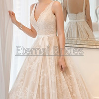 Inspired V neckline with scallop straps lace tulle ball gown chapel train