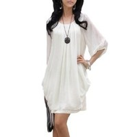 LaLaMa Womens Casual Sexy Summer Pleated Prom Chiffon Sundress Mini Short Dress White S
