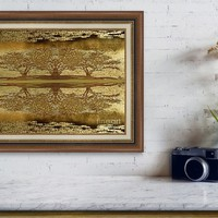 Golden Trees Reflection Framed Print
