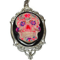 Hot Pink and Purple Day of the Dead Sugar Skull Cameo Horror Necklace - Dia De Los Muertos Day of the Dead Necklace