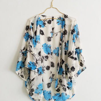 Floral Kimono Beach Cover up Swimsuit Caftan Blue and White Chiffon Handmade