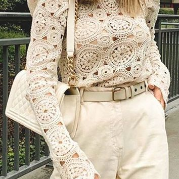 Round About Beige Embroidery Crochet Long Sleeve Puff Shoulder Crew Neck Scallop Blouse Top