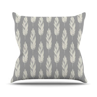 "Amanda Lane ""Feathers Gray Cream"" Grey Pattern Throw Pillow"