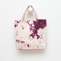 CARRY ON 3/ Natural metallic leather & Dyed cotton  tote bag