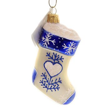 Golden Bell Collection STOCKING WITH HEART Glass Christmas Ornament Nvv102 Blue