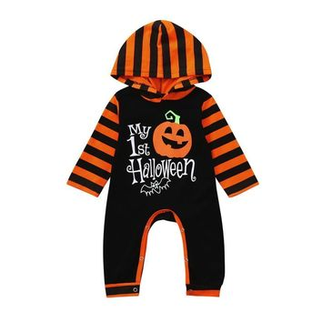 Arloneet Infant baby rompers halloween costume Toddler Baby Girls Boys Pumpkin Hoodie Romper Halloween Clothes Jumpsuit l0808
