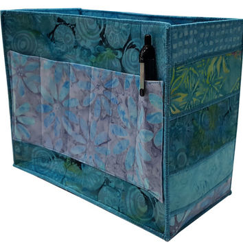 Handmade Large Desk Organizer in Teal and Blue Batik Fabrics