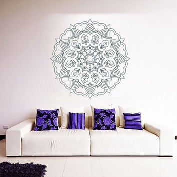 Mandala Wall Decal Lotus Stickers Boho Vinyl Decals Flower Art Mural Home Yoga Studio Interior Design Bedroom Sticker Bohemian Decor KY130