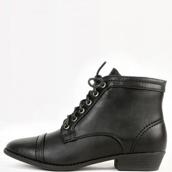 Bamboo Charm-01 PU Lace Up Ankle Boots | MakeMeChic.com