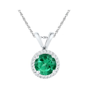 10k White Gold Womens Lab-Created Emerald Solitaire & Diamond Halo Pendant 7/8 Cttw