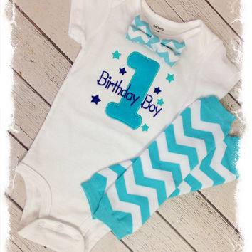 Baby BOYS FIRST BIRTHDAY Outfit Boys 2 Pc Bow Tie Birthday Aqua Chevron