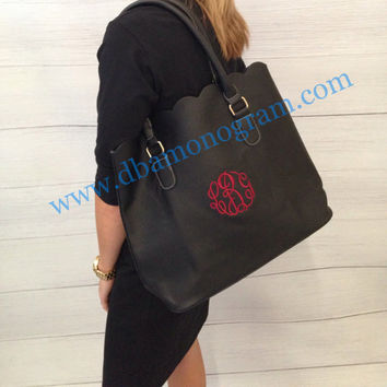 Monogrammed Scallop Trim Tote, Fall Handbag