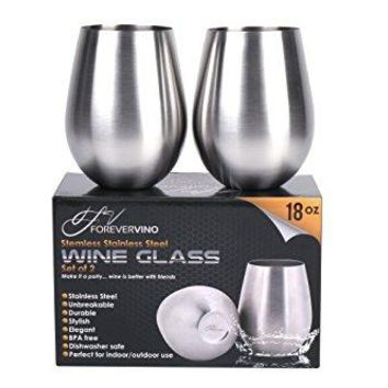 Stainless Steel Wine Glasses ndash Set of 2 Unbreakable Glasses for Wine ndash Premium Stainless Steel Portable Wine Cups ndash Fine Dining Accessories for Red amp White Wine ndashPerfect Wine Gifts for Friends