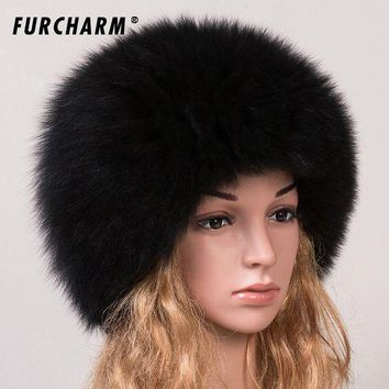 DCCKU62 Women 's Genuine Fox Fur Beanies Russian Winter Warm Fur Hat 100% Real Fox Fur Knitted Hat Casual Dome Mongolian Caps