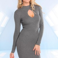 Grey Knit Long Sleeve Dress with Cutout Front Detail