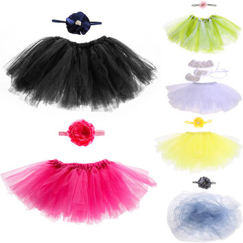 Baby Photography Props Baby Girl Tulle Tutu Skirt Newborn Photo Props Baby Tutu Skirt wIth Flower Tire Handmade Hats LD789