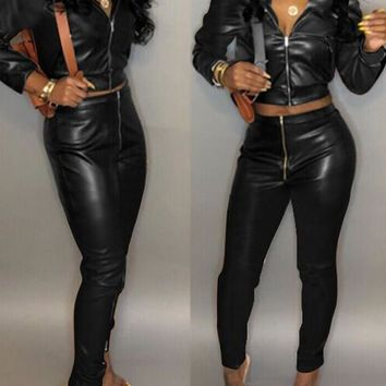 New Black Zipper Pockets Two Piece Latex Vinly Patent High Waisted Casual Long Jumpsuit