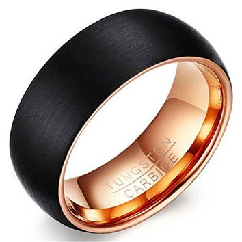 8mm Tungsten Carbide Black Rose Gold Plated Two Tone Wedding Band Engagement Ring Matte Finish