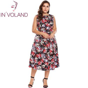 IN'VOLAND Women Vintage Dress Oversized XL-5XL Spring Autumn Garden Floral Print O Neck Picnic Party Cocktail Swing Dresses