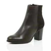 River Island Womens Brown leather heeled ankle boots