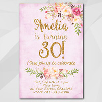 30th Birthday Invitation, Fuchsia Gold Invitation, Any age 13th 18th 21st 30th 40th 50, Custom Birthday Party invitation XA302f
