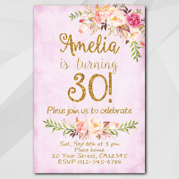 30th Birthday Invitation Fuchsia Gold Any Age 13th