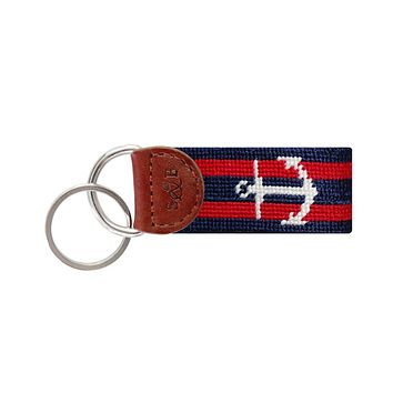 Striped Anchor Needlepoint Key Fob in Navy and Red by Smathers & Branson