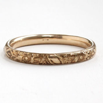 Antique Edwardian Gold Filled Floral Child's Bracelet - Art Nouveau Flower Hinged Small Bangle Jewelry Hallmarked AC Co