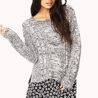FOREVER 21 Heathered Open-Knit Sweater Light Grey/Black