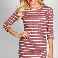 Casual Ribbed Knit Striped Dress