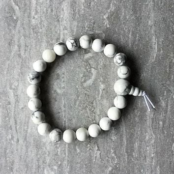 8mm Natural Gemstone Prayer Beads Bracelet - White Turquoise