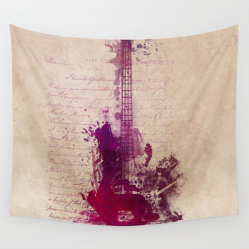 Purple Rain and guitar Wall Tapestry by Jbjart | Society6