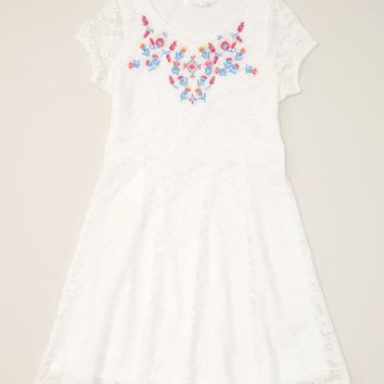 p.s. from Aéropostale Cream Lace Skater Dress - Girls