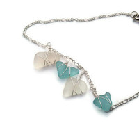 Silver and Sea Glass Anklet by Made4yougiftsbyAngie on Etsy