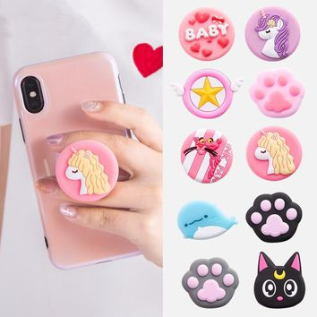 Universal mobile phone bracket Cute hello kitty air bag Phone Expanding Stand Finger Holder mickey rabbit phone holder Stand