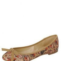 LIGHT-PINK PRINTED BOW BALLET FLATS @ KiwiLook fashion