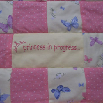 """A """"Princess in Progress"""" Butterfly Quilt, Girly Butterfly Blanket, Upcycled Baby Clothes Quilt, Butterfly Playmat Quilt, Gift for baby girl"""